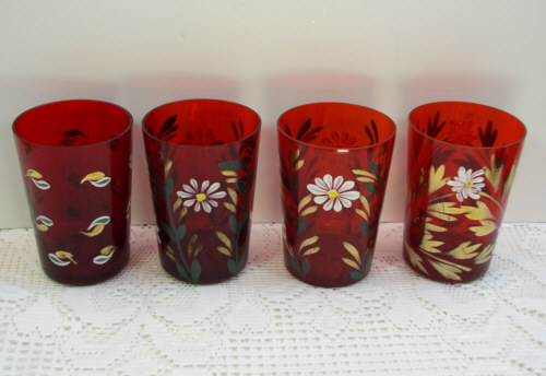 Set 4 Ruby Red Glass Painted 8oz Juice Tumblers Drinking Glasses