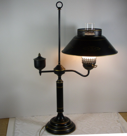 Vintage colonial toleware student lamp table living room - Black lamp tables for living room ...
