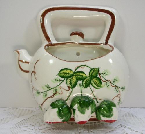 Vintage Strawberry Teapot Wall Pocket Flower Pot Planter