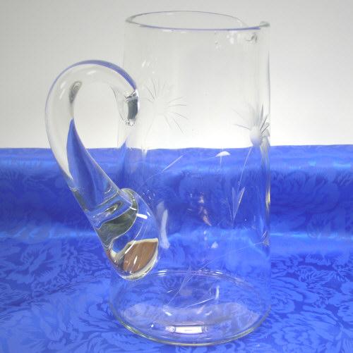 Vintage Half Daisy Floral Cut Glass Water/Milk Pitcher 56 oz
